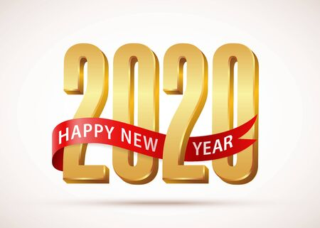 2020 Happy New Year Gold text 3d logo with red ribbon. Design template Celebration typography poster, banner or greeting card for Merry Christmas and happy new year. Vector Illustration