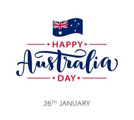Happy Australia Day with stars and ribbon. Vector illustration Hand drawn text lettering for Australia day. Script. Calligraphic design for print greetings card, sale banner, poster. Colorful