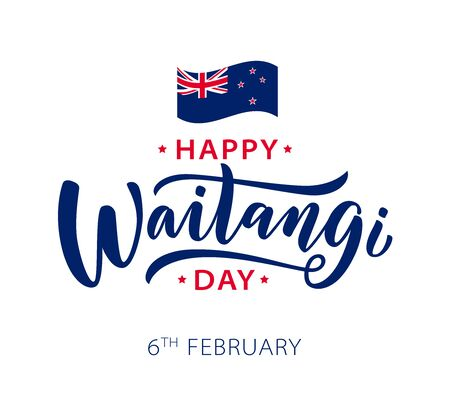 Waitangi day. 6 february New Zealand. Hand lettering design for Waitangi day. Vector illustration Hand drawn text for New Zealand holiday. Script. Calligraphic design for print card, banner, poster.