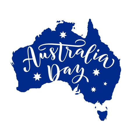 Happy Australia Day with stars and ribbon. Vector illustration Hand drawn text lettering for Australia day. Script. Calligraphic design for print greetings card, sale banner, poster. Colorful 스톡 콘텐츠 - 136786184