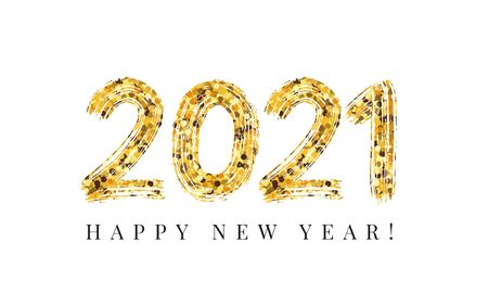 2021 Happy New Year. Design template. Celebration typography poster, banner or greeting card. Vector Illustration