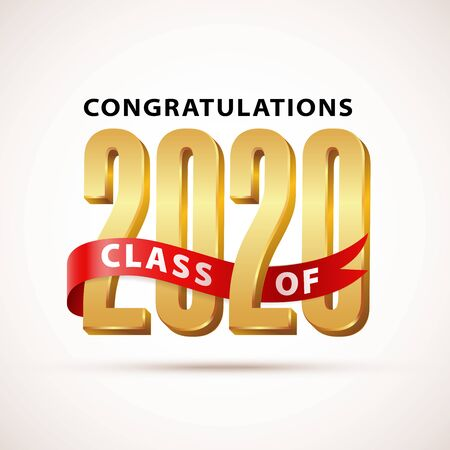 Class of 2020 Congratulations. Gold Lettering Graduation 3d logo with red ribbon. Template for graduation design, party, high school or college graduate, yearbook. Vector illustration.