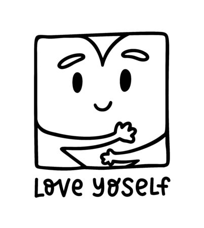 Love yoself. Cute kawaii heart hugging yourself. Love your body concept. Girl Healthcare Skincare. Take time for your self. Vector illustration on white background. Black color doodle  イラスト・ベクター素材