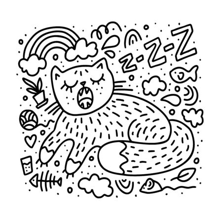 Cute cat sleep with snoring. Sweet Dreams arond it. Doodle vector illustration for print coloring page, book, poster, shirt, tee, kids menu, child cloth