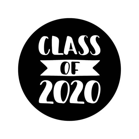 Class of 2020 round lable. Black Hand drawn brush lettering Graduation logo on white background. Template for graduation design, party, high school or college graduate, yearbook. Vector illustration.  イラスト・ベクター素材
