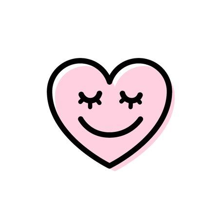 Heart with smile on face. Cute line smiling heart doodle icon. Smiley love symbol. Vector illustration on white background. Design for Valentines Day greeting card, shirt, web, tee, app, print