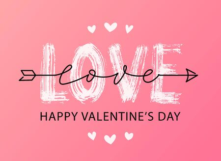 Happy Valentines Day. Vector illustration isolated on white background. Hand drawn text lettering for Valentines Day greeting card. Calligraphic design for print cards, banner, poster  イラスト・ベクター素材