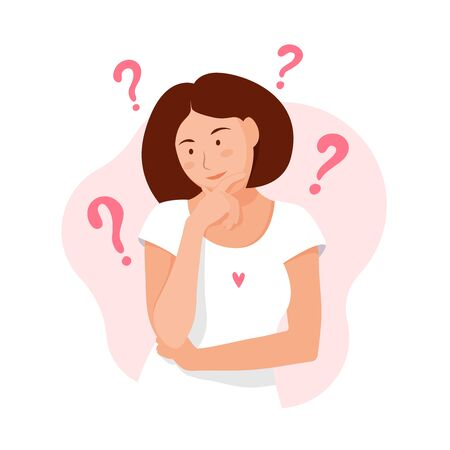Woman thinks. Question. Thinking girl concept. Think about problems, finance, life, relationship etc. Girl solves a problem. Mom doubts. Cartoon thinking woman with question marks. Vector Flat style