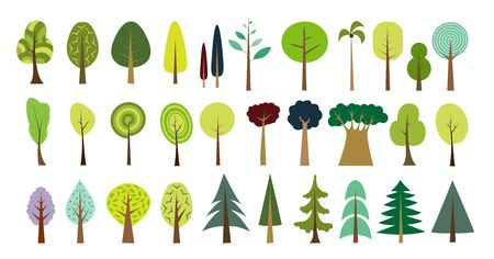 Simple tree set. Vector forest set. Various trees and bushes colorful wood cartoons flat style. Fir, pine, spruce, larch. Conifers and deciduous. Different simple trees and shrubs on white background.