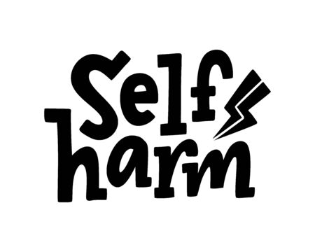 Self harm quote. Single word. Lettering text self harm. Mental health. Guilt feeling. Punishment and abasement of yourself. Suicide problem. Design print for card, banner. Vector illustration