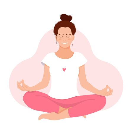 Girl meditates. Relax. Love yourself. Mental health concept. Meditation. Healthcare. Inner harmony with yourself. Take time for your self. Vector illustration. Woman meditating on white background