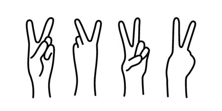 Peace sign. Victory sign. Hand gesture The V symbol of peace. Korean finger symbol for victory. Vector illustration on white background. Hand drawn design for print greeting cards, banner, poster