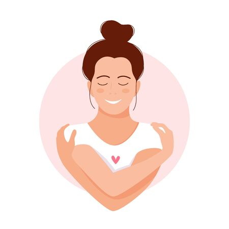 Love yourself. Love your body concept. Girl Healthcare Skincare. Take time for your self. Vector illustration. Woman hugging herself with hearts on white background. Pastel pink cute soft colors