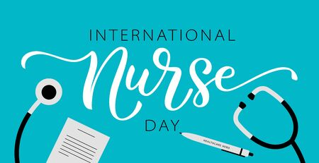 NURSE DAY. International holiday. 12 May. Hand lettering illustration. Hand drawn text design for National Nurses Day. Professionals Day. Script word for print greetings card, poster, banner Illustration