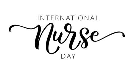 NURSE DAY. International holiday. 12 May. Hand lettering illustration. Hand drawn text design for National Nurses Day. Professionals Day. Script word for print greetings card, poster, banner  イラスト・ベクター素材