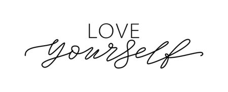 LOVE YOURSELF quote. Self-care Single word. Modern calligraphy text love yourself Care. Design print for t shirt, pin label, badges, sticker, greeting card, banner.