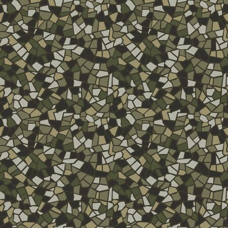 MILITARY MOSAIC TILE SEAMLESS PATTERN. Abstract pattern. Army color mosaic. Vector crack stone marble background. Endless rock concrete texture. Ceramic tile fragments. Terrazzo floor print. Illustration