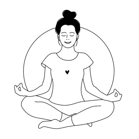 Girl meditates. Relax. Love yourself. Mental health concept. Meditation. Healthcare. Inner harmony. Outline coloring page. Vector illustration. Woman meditating on white background. Line doodle style