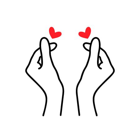 Korean heart sign. Finger love symbol. Happy Valentines Day. I love you hand gesture. Vector illustration isolated on white background. Hand drawn design for print greeting cards, banner, poster