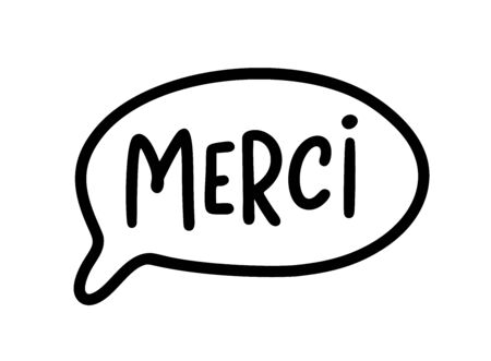 MERCI. Thank you card in french language. French quote. Vector text. Give thanks. Graphic print greeting card for Thanksgiving day. Hand drawn lettering for healthcare heroes. Gratitude doodle  イラスト・ベクター素材