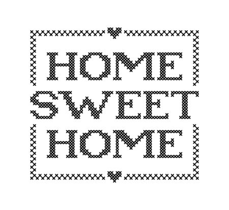 HOME SWEET HOME. Embroidery quote. Stitch cross typography cozy design for print to poster, t shirt, banner, card, textile for your sweet house. Vector illustration. Black text on white background  イラスト・ベクター素材