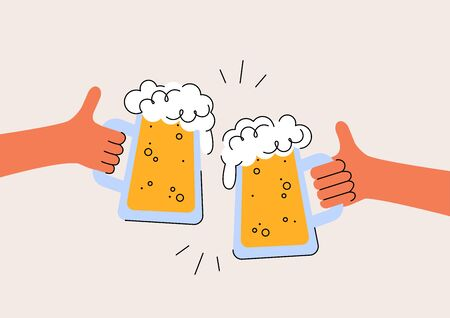 Cheers. International Beer Day. Two hands are holding the beer glasses mugs. Design print for poster, banner, cards, invitation to party. Oktoberfest Festival. Vector simple modern flat illustration  イラスト・ベクター素材