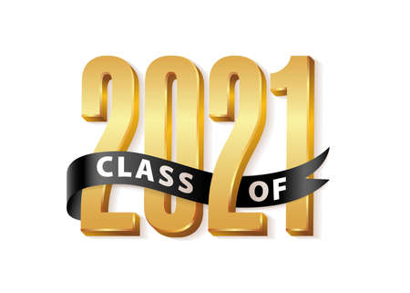 Class of 2021 Graduate Gold Lettering Graduation 3d logo with black ribbon. Template for graduation design, party, high school or college graduate, yearbook 2021. Vector illustration