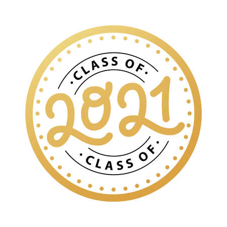Graduate 2021. Class of 2021. Lettering Graduation logo stamp. Vector illustration. Template for graduation design, party, high school or college graduate, yearbook.