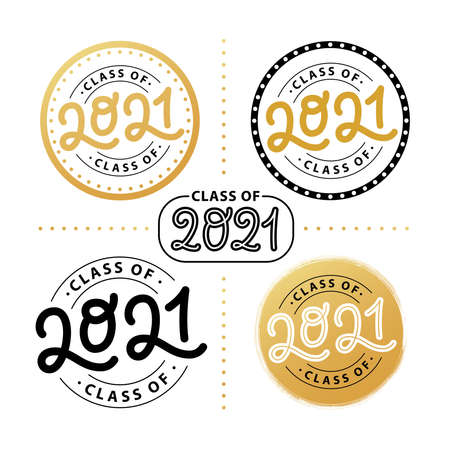 Graduate 2021 set. Class of 2021. Lettering Graduation logo stamp. Vector illustration. Template for graduation design, party, high school or college graduate, yearbook.