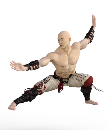3D Render of an Asian Monk in Martial Arts Pose Stok Fotoğraf