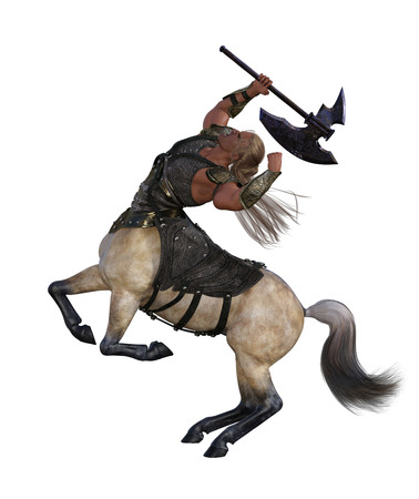 3D Render of An Angry Centaur with Axe and Armor