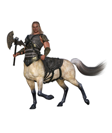 3D render of A Walking Centaur with Axe and Armor
