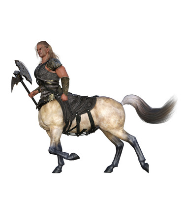 3D Render of A Walking Centaur with Axe and Armor Banco de Imagens