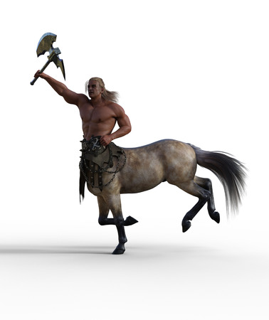 3D Render of Centaur with Axe and Armor