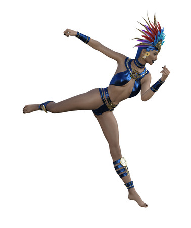 3D illustration of a sexy female dancer with headdress and costume