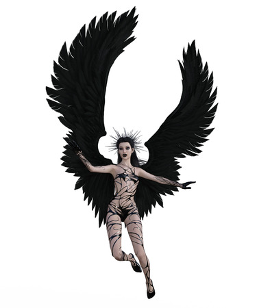 3d illustration of a sexy female angel with black feather wings Standard-Bild - 124383840