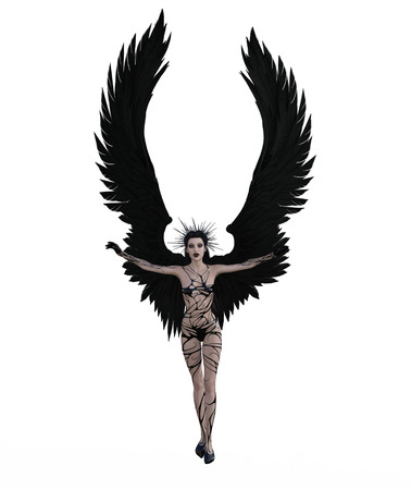 3d illustration of a female angel with black feather wings