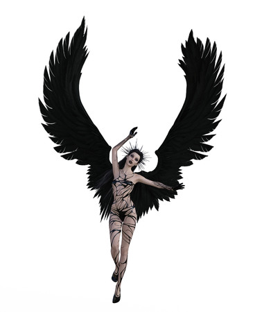 3d illustration of a sexy female angel with black feather wings Standard-Bild - 124383843