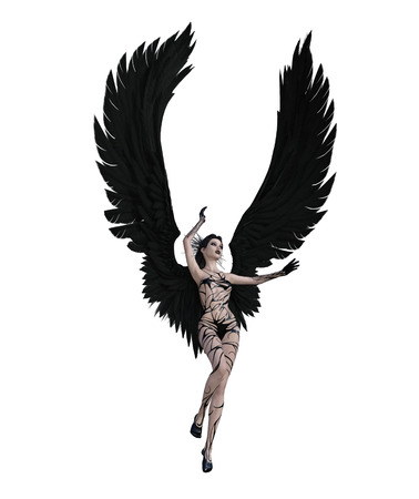 3d illustration of a sexy female angel with black feather wings Standard-Bild - 124383845