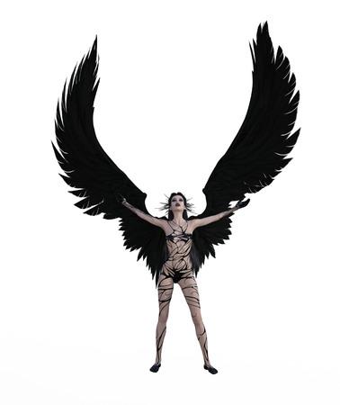 Illustrazione 3D di un angelo femmina con ali di piume nere