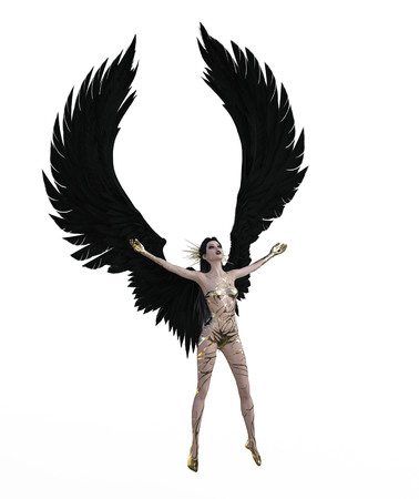 3d illustration of a sexy female angel with black feather wings Standard-Bild - 124383848