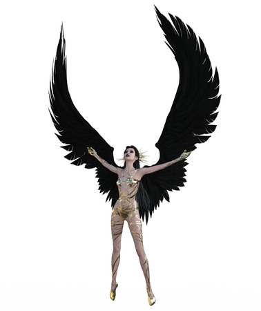 3d illustration of a female angel with black feather wings Standard-Bild