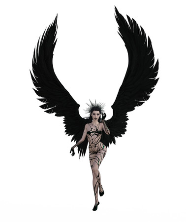3d illustration of a sexy female angel with black feather wings Standard-Bild - 124383851