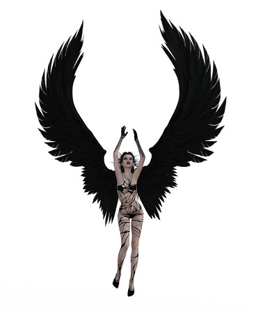 3d illustration of a sexy female angel with black feather wings Standard-Bild - 124383852