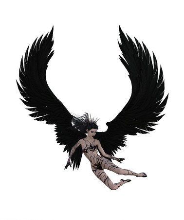 3d illustration of a sexy female angel with black feather wings Standard-Bild - 124383855