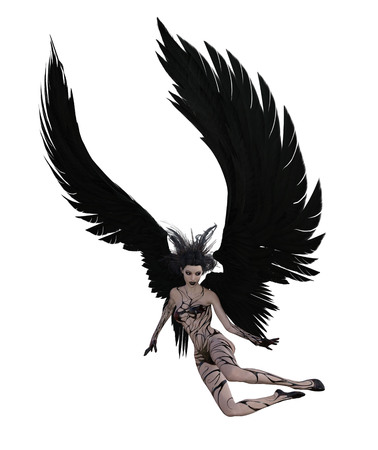 3d illustration of a sexy female angel with black feather wings Standard-Bild - 124383908