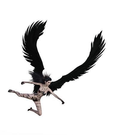 3D illustration of a angel with black feather wings Standard-Bild