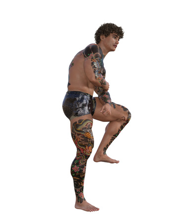 3d illustration of a muscular tattooed man