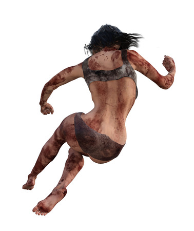 3d illustration of a bloody female survivor