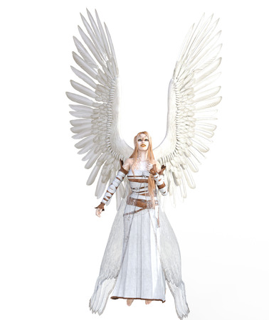 3d illustration of a female angel with feather wings